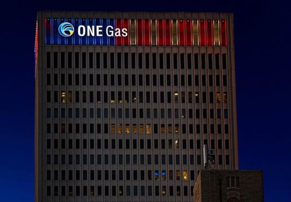 Photo -  ONE Gas corporate headquarters at night. [PROVIDED]
