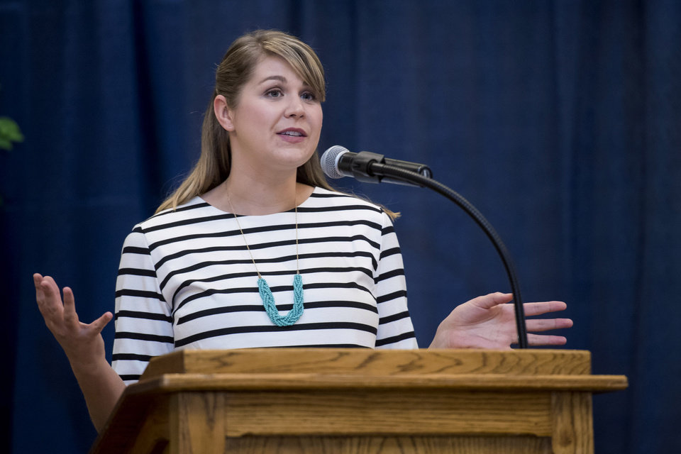 Photo - Sydney Chaffee, 2017 National Teacher of the Year, was the keynote speaker at Honoring a Noble Profession: Celebrating Teachers and Teaching on Dec. 13. The annual event is hosted each year by the College of Education and Professional Studies at the University of Central Oklahoma. (Provided/UCO)