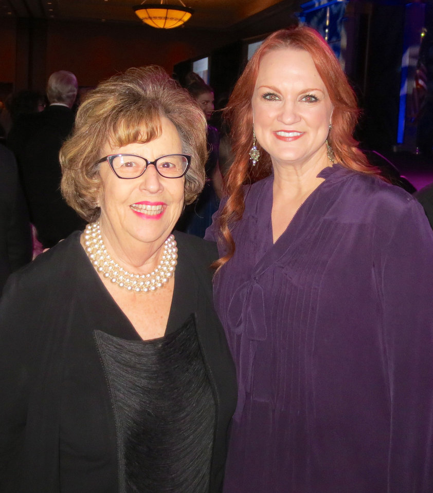 Photo -  Helen Ford Wallace and Ree Drummond, The Pioneer Woman. Drummond was filming her TV show on Wallace's most recent visit to Pawhuska, but they did catch up at the Oklahoma Hall of Fame inductions. [Photo provided]