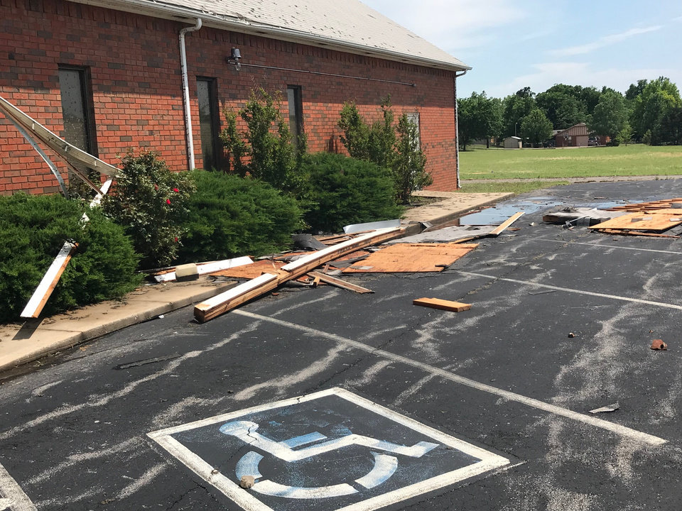 Photo - Southern Hills  Baptist Church, 2501 W Country Club Road, Chickasha, sustained damage Tuesday in high winds. Photo By Dale Thompson, Grady County Emergency Management Agency director.