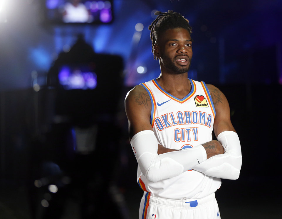 Photo - Oklahoma City's Nerlens Noel gives an interview during media day for the Oklahoma City Thunder NBA basketball team at Chesapeake Energy Arena in Oklahoma City, Monday, Sept. 30, 2019. [Nate Billings/The Oklahoman]