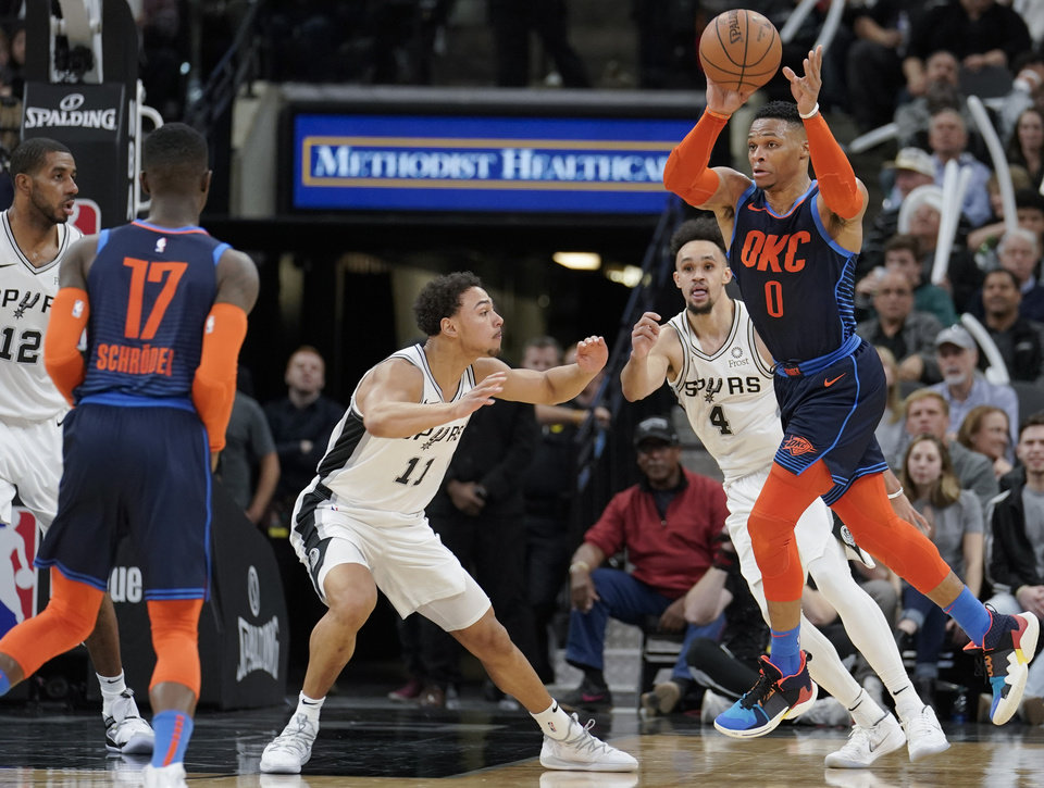 Photo -  Oklahoma City's Russell Westbrook (0) passes to Dennis Schroder (17) as San Antonio's Bryn Forbes (11) and Derrick White (4) defend Thursday. [AP PHOTO]