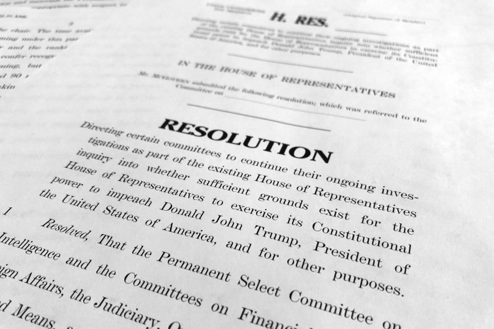 Photo - The text of a House resolution released by the Democrats that authorizes the next phase of the impeachment inquiry against President Donald Trump is photographed in Washington, Tuesday, Oct. 29, 2019. (AP Photo/Jon Elswick)