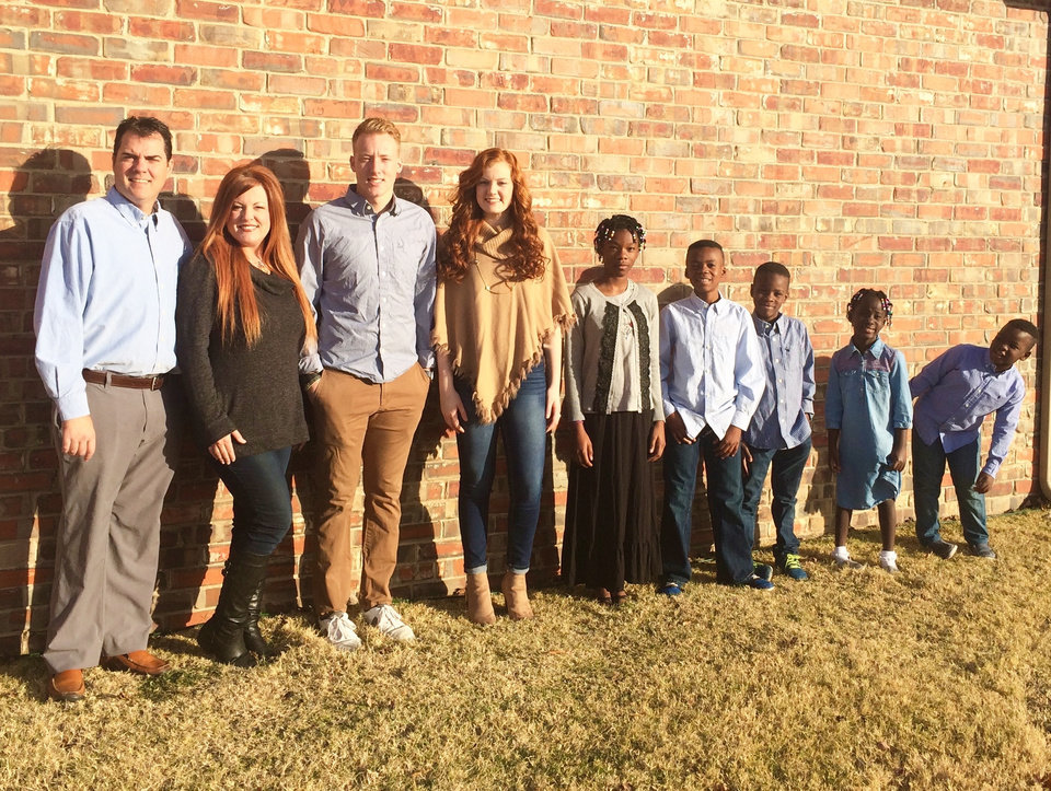 Photo -  Meet the Cargill family (from left): Chad, Shellie, Camden, Cayce, Clarity, Creed, Cai, Carli and Crosby. [PHOTO PROVIDED]