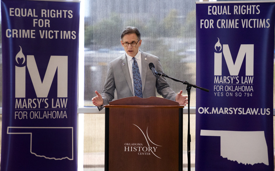 Photo -  Attorney General Mike Hunter speaks during a reception to celebrate supporters of Marsy's Law in Oklahoma at the Oklahoma History Center in Oklahoma City, Okla. on Tuesday, Oct. 22, 2019. [Chris Landsberger/The Oklahoman]