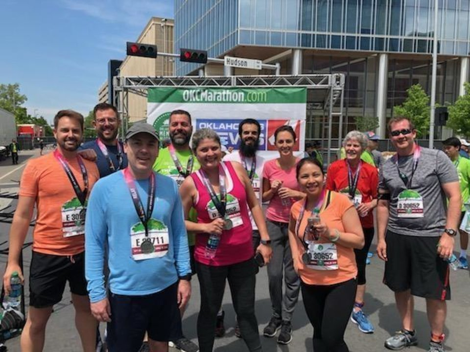 Photo -  Several Oklahoma Medical Research Foundation employees participate in the 2019 Oklahoma City Memorial Marathon. [PROVIDED]