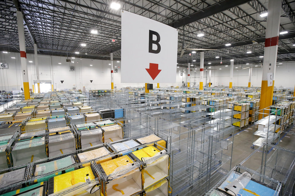Photo - A view from inside the new Amazon Delivery Center in Oklahoma City, Tuesday, Oct. 23, 2018. Photo by Bryan Terry, The Oklahoman