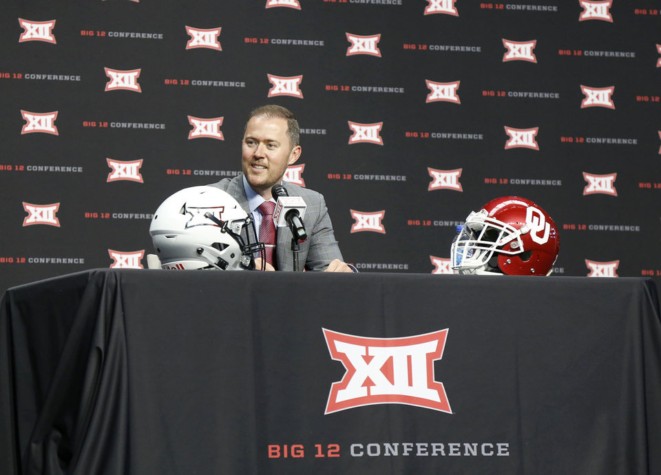 Photo -  OU head coach Lincoln Riley at the Big 12 Media Day at AT&T Stadium in Dallas, TX, July 15, 2019. [STEPHEN PINGRY/Tulsa World]