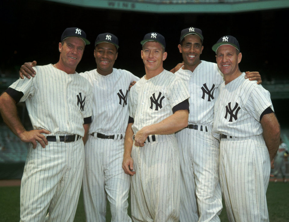 Photo - New York Yankees Hank Bauer, Elston Howard, Mickey Mantle, Harry Simpson, Enos Slaughter in this 1957 file photo. (AP Photo/file)