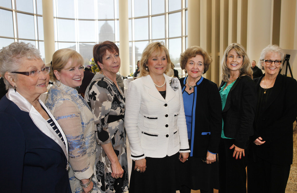 Photo - Gov. Mary Fallin, center, poses for a photo with the Oklahoma Women Hall of Fame 2013 Inductees Ida Blackburn, Linda Haneborg, Terri Watkins, Lou Kerr, Elaine Dodd and Nancy Miller at the Oklahoma History Center, Thursday, April 11, 2013. Photo By David McDaniel/The Oklahoman