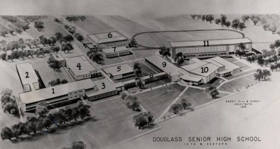 Photo -  Architect's rendering of Douglass High School built on the old fairgrounds and opened in 1954. The buildings as originally conceived included: (1) new classroom building; (2) classroom to be built later; (3) new administrative building; (4) cafeteria; (5) library to be built later; (6) gymnasium; (7) new swimming pool to be built when the money is available; (8) corridor, 70 feet long; (9) homemaking building; (10) auditorium and fine arts building; (11) old grandstand to be walled in for industrial building, with stadium front. [Oklahoma Publishing Company Photography Collection/OHS]