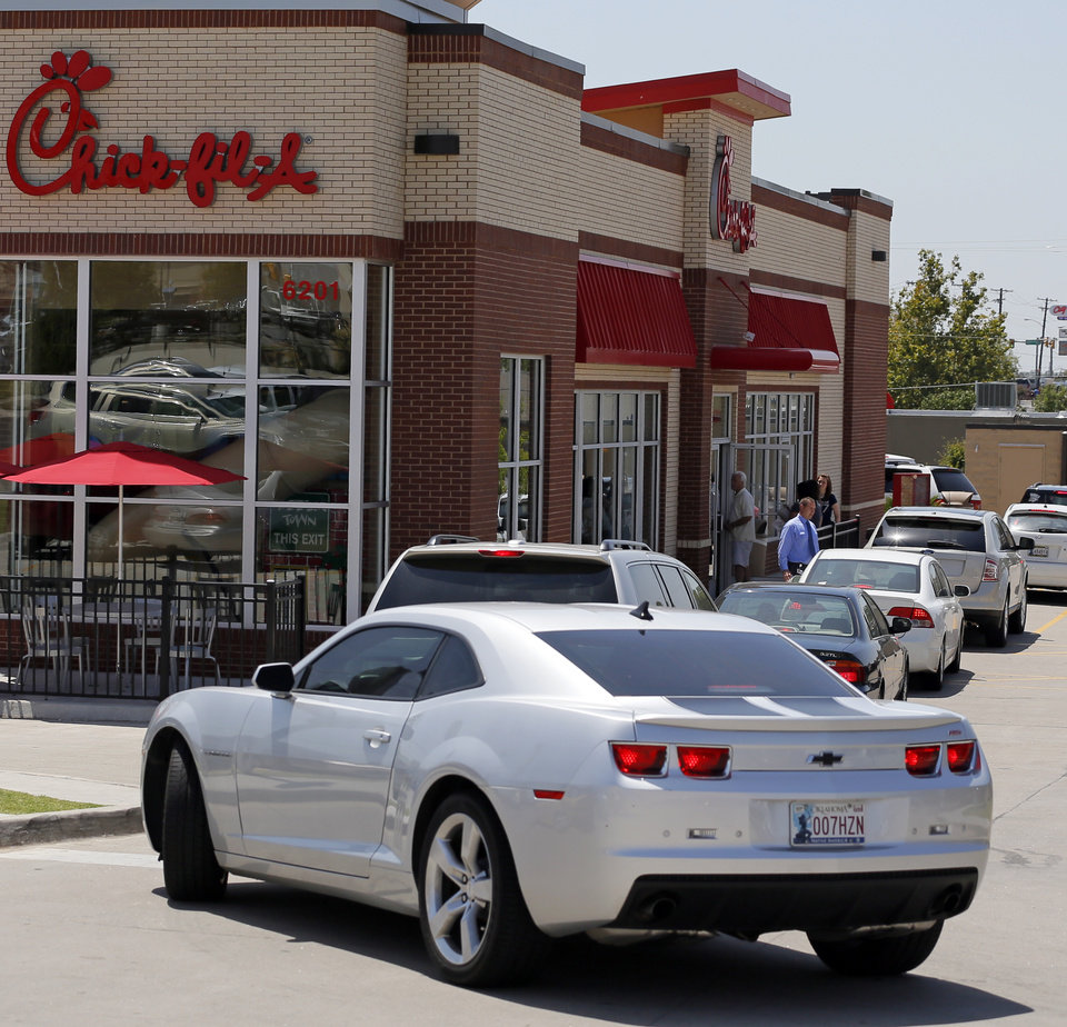 Photo - outside the Chick-fil-A at 6201 N May during Chick-fil-A Appreciation Day in Oklahoma City, Wednesday, Aug. 1, 2012. Photo by Nate Billings, The Oklahoman
