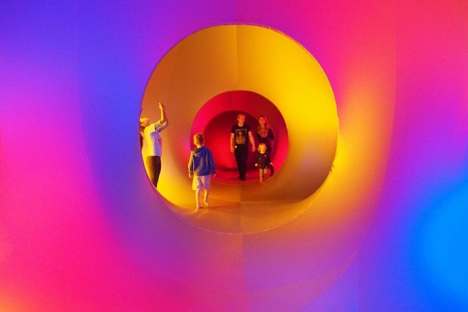 "Photo - The John W. Rex Charter Elementary School Parent Teacher Association has invited England's Architects of Air to fill Together Square, 400 W Sheridan Ave, with large, colorful, walk-through inflatable sculptures called luminarium. The inaugural RexFest features the luminarium ""Albesila,"" a collection of egg-shaped domes. Entering them is said to be like walking into a stained-glass window or futuristic space station. [Photo provided]"