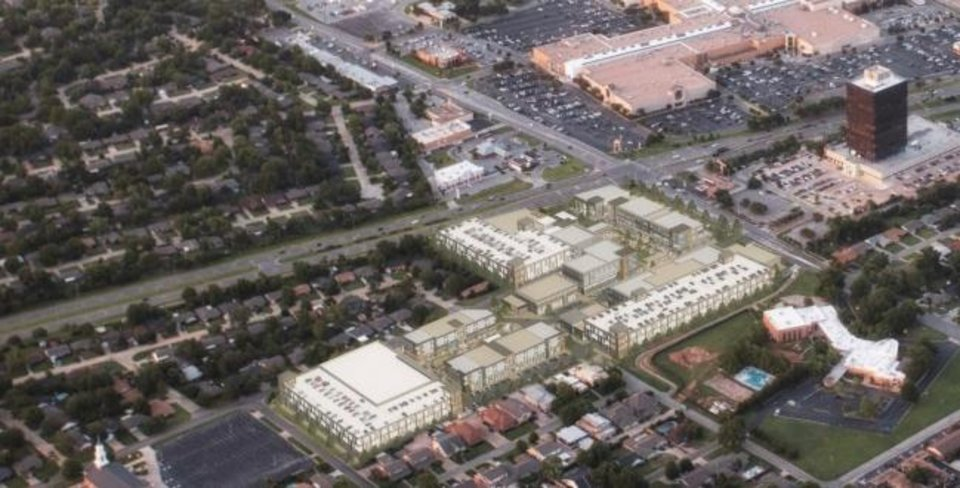 Photo -  This illustrated aerial photo shows how Penn Central will be built to interact with Penn Square Mall and 50 Penn Place. [PROVIDED]
