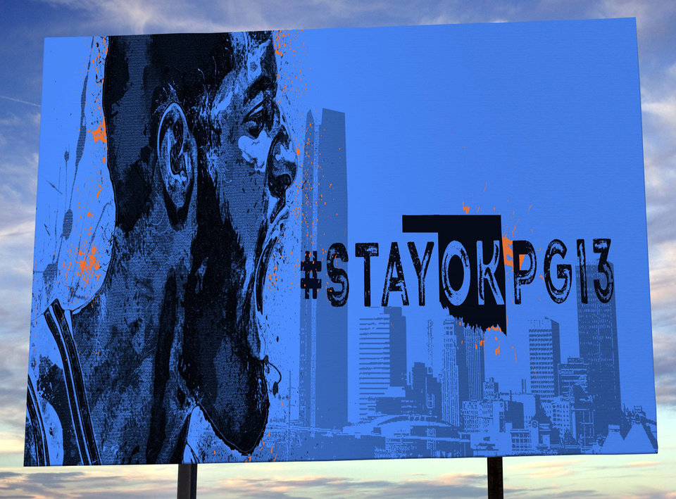 Photo -  Fans in seemingly every NBA market have made their recruiting pitch to Paul George, even with the use of billboards. With that in mind, a pair of OKC artists try to convince George to stay with the Thunder. [OKLAHOMAN PHOTO ILLUSTRATION; PAINTING BY DESMOND MASON]