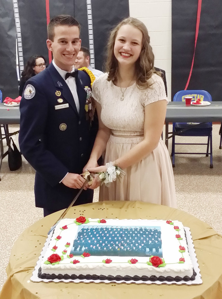 Photo - C/Col Matthew Hoisington, Cadet Group Commander, and C/AB MacKenna Suttee, Choctaw HS. PHOTO PROVIDED