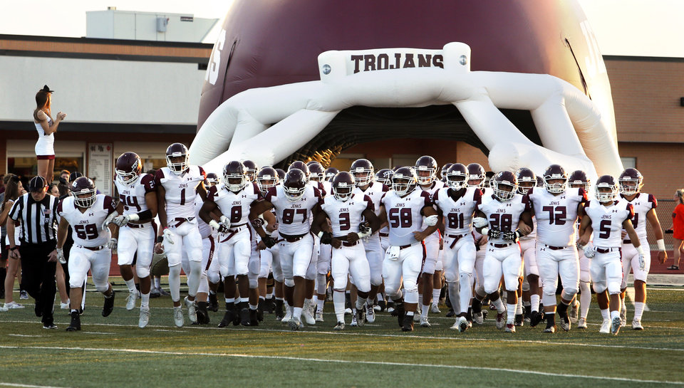 Photo - Jenks Trojans prepare to play the Norman High School Tigers on Friday, Sept. 23, 2016 in Norman, Okla. Photo by Steve Sisney, The Oklahoman