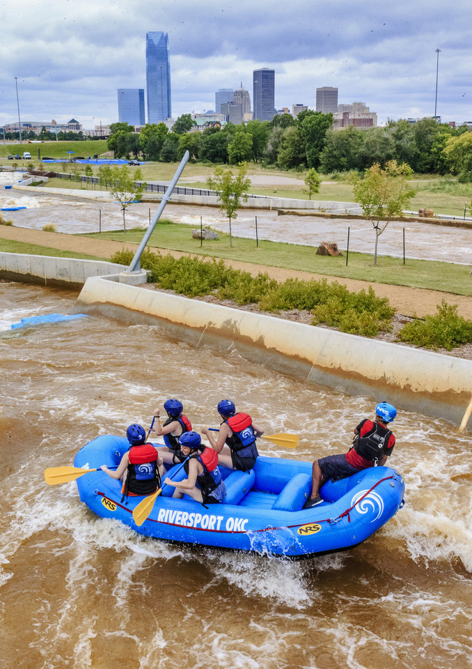 Photo -  Rafters make their way through the rapids at Riversport Adventures OKC in the Boathouse District. [Photo by Chris Landsberger, The Oklahoman Archives]