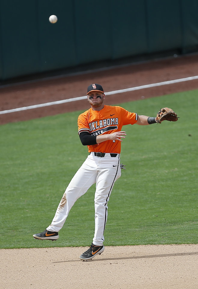 Photo - OSU's Andrew Navigato throws to first for an out in the 6th inning during the Big 12 baseball tournament game between Oklahoma State and West Virginia at the Chickasaw Bricktown Ballpark in Oklahoma City, Sunday, May 26, 2019.  [Sarah Phipps/The Oklahoman]