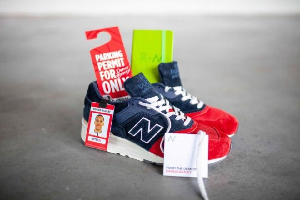 Photo -  New employees and interns at New Balance receive quite the welcome gift. [PHOTO PROVIDED]