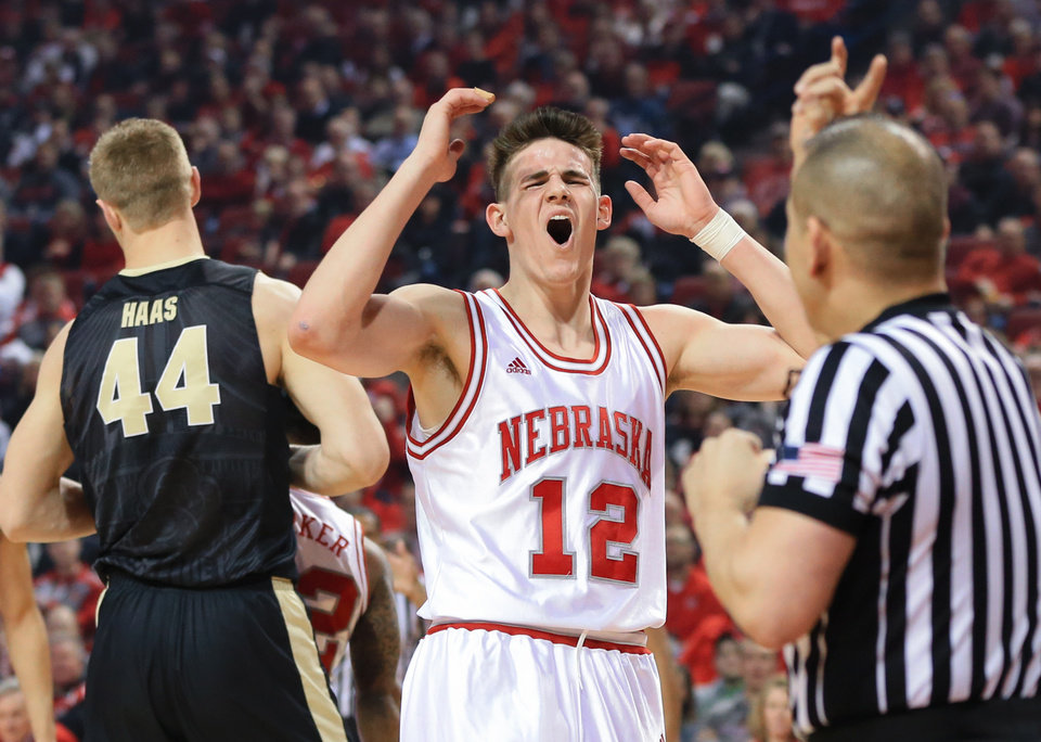 Nebraska's Michael Jacobson (12) reacts after fouling Purdue's Isaac ...