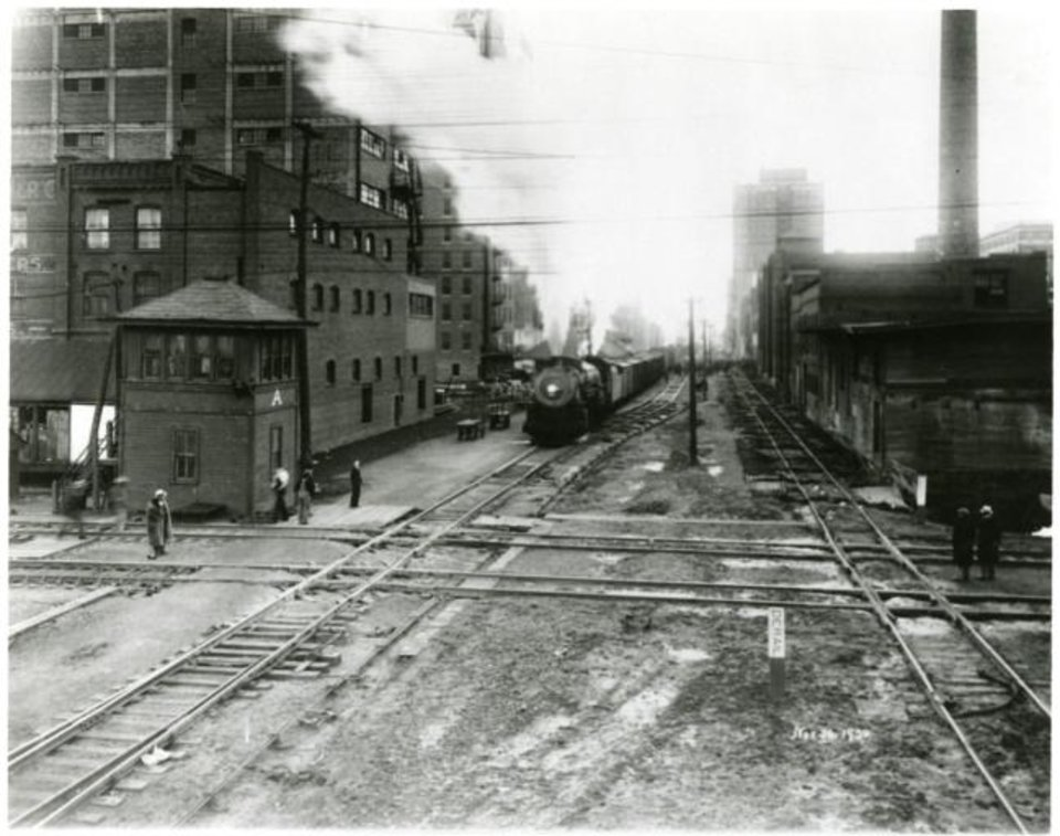 Photo -  The last Rock Island train to use its downtown tracks leaves its station on Nov. 30, 1930. [PROVIDED BY DEAN SCHIRF]