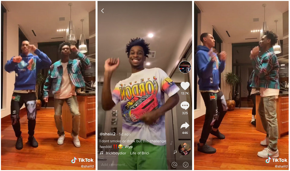 Photo - With the NBA season suspended due to the coronavirus outbreak, Thunder players Darius Bazley and Shai Gilgeous-Alexander, right, have entertained fans with videos on the TikTok social media platform. [TIKTOK SCREENSHOTS]