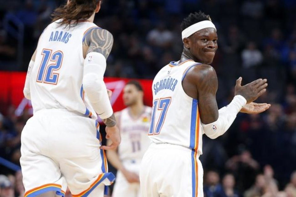 Photo -  Dennis Schroder (17) claps during the Thunder's 109-103 win against the Cavaliers on Wednesday at Chesapeake Energy Arena. [Bryan Terry/The Oklahoman]