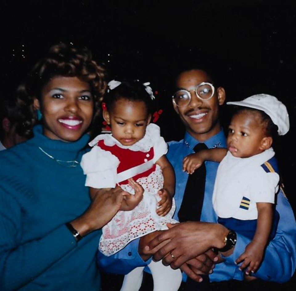 Photo -  Davie L. and Jack Baker are pictured here with the two oldest children, Optimum and Javvero, at Jack's graduation in February 1990. [Photo provided]