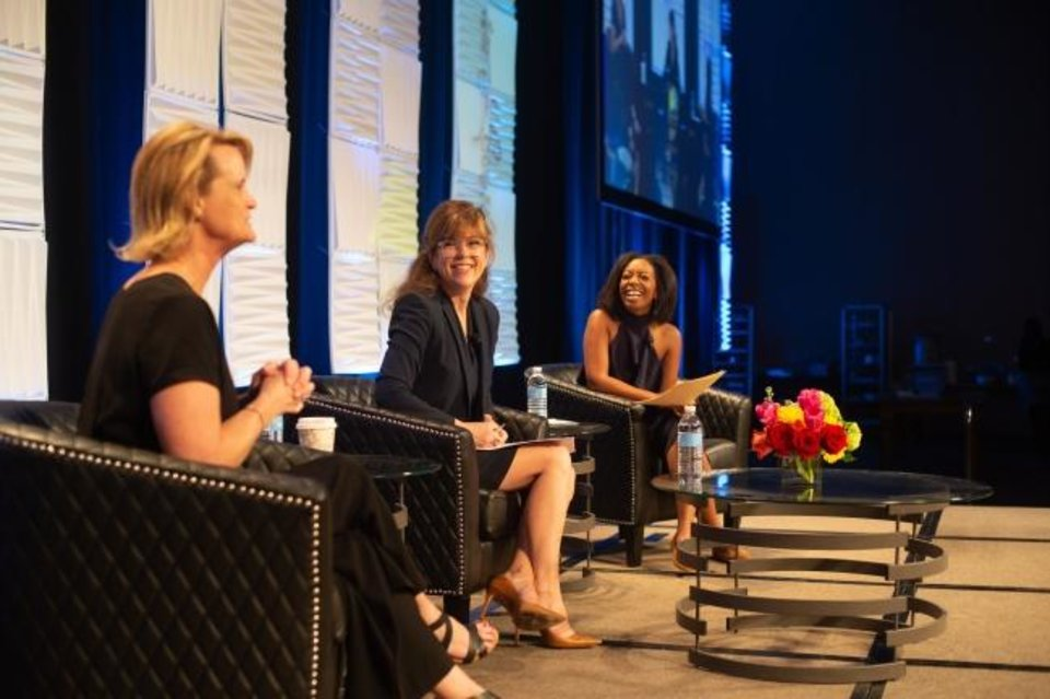Photo -  From left, Kelly Dyer Fry, publisher and editor of the Oklahoman; public relations expert Kym Koch; and KOCO 5 News reporter Mecca Rayne participate in a panel discussion. [PHOTO PROVIDED]