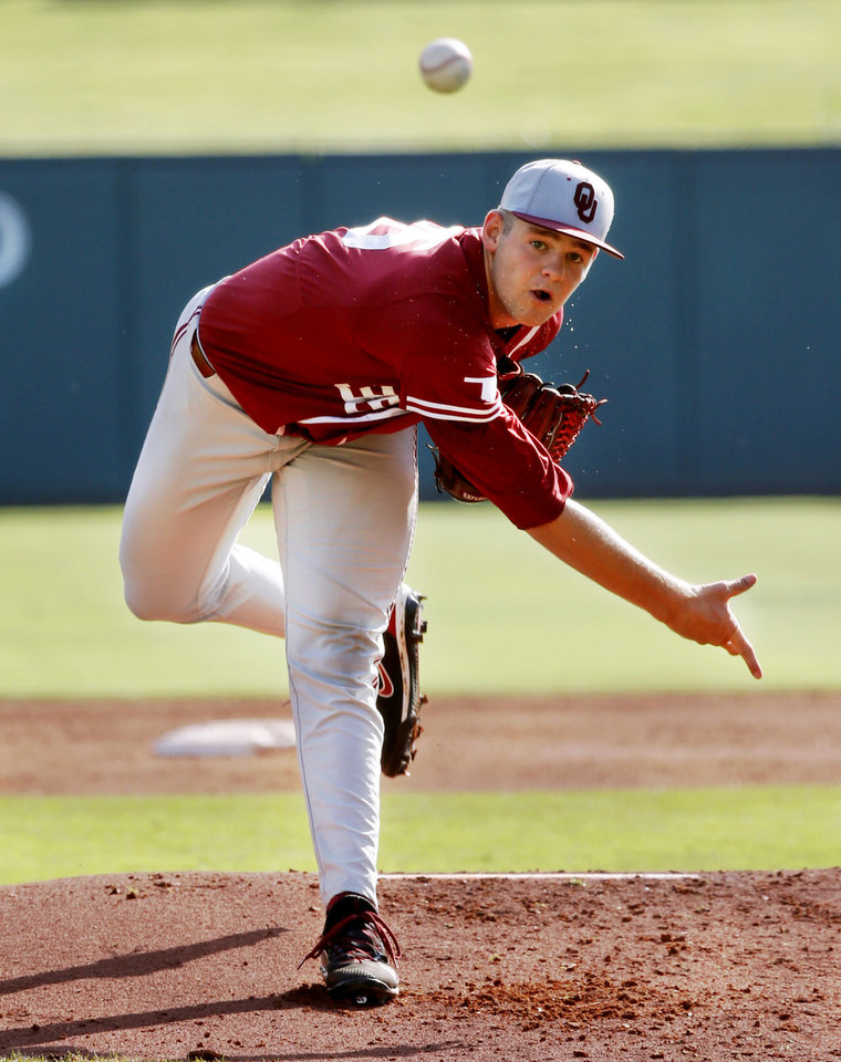 Photo - Oklahoma pitcher Nathan Wiles throws as the University of Oklahoma Sooners (OU) play the University of Texas Longhorns (UT) in the Big 12 Baseball Championship at the Chickasaw Bricktown Ballpark in Oklahoma City, on Thursday, May 24, 2018 in Oklahoma City, Okla.  Photo by Steve Sisney, The Oklahoman
