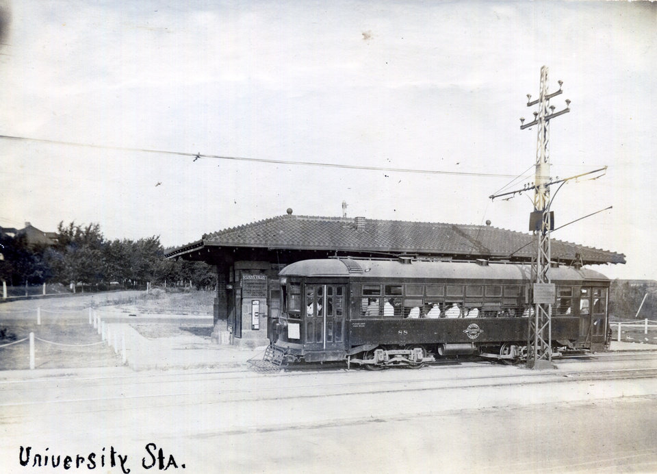 Photo -  University Station went away with the original Oklahoma City trolleys in the 1940s, but the island where it stood at NW 17 and Classen still stands and is marked by a metal sculpture of a trolley. [Oklahoma Historical Society]