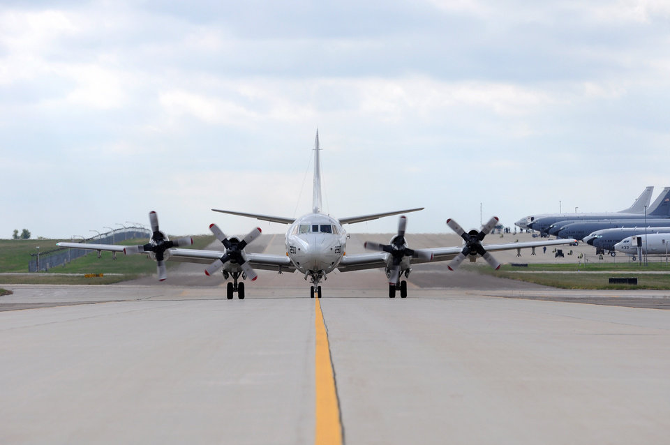 Photo -  A P-3 Orion from Naval Air Station Jacksonville, Florida, taxies after landing at Tinker Air Force Base, Oklahoma, Oct. 6. The aircraft was one of eleven from NAS Jacksonville that sought shelter from Hurricane Matthew here. (Air Force photo by April McDonald)