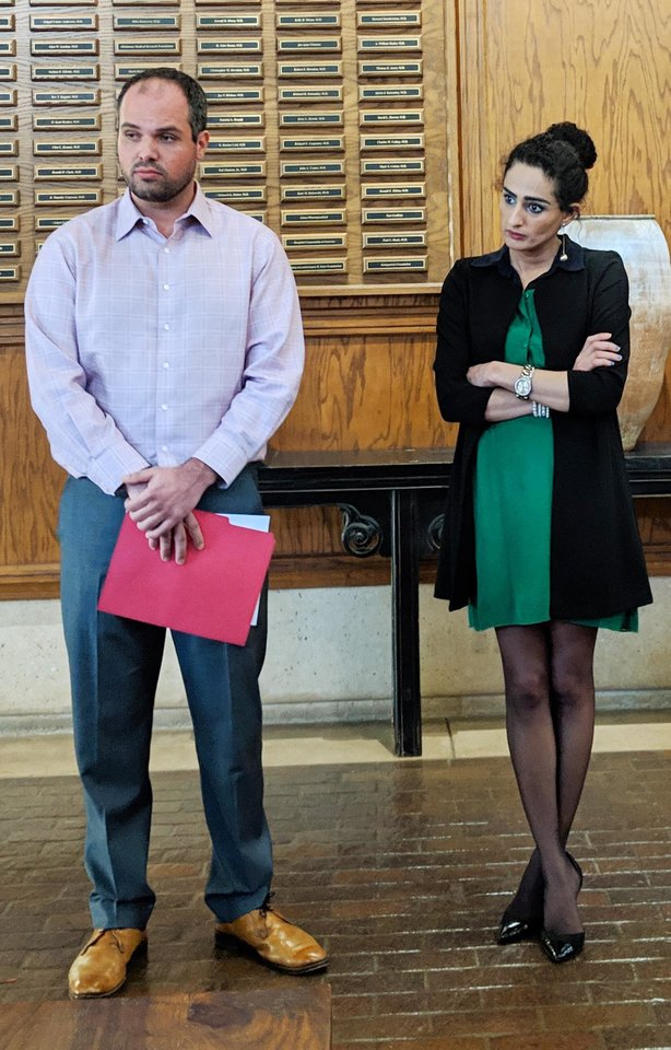 Photo -  University of Oklahoma graduate and former employee, Jess Eddy,(left), standing with community advocate Sara Bana as the OU Board of Regents met in executive session on Tuesday. Eddy has accused retired OU President David Boren of sexual battery. [Adam Kemp/The Oklahoman]