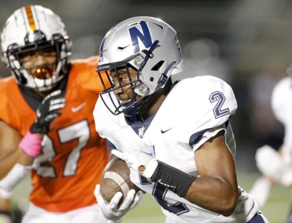 Photo -  Lebron Jones (2) and Edmond North will face Edmond Santa Fe in the playoffs. [Sarah Phipps/The Oklahoman]