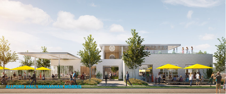 Photo -  The owners of the Patriarch in Edmond are set to create a craft beer hall with micro kitchens in an old transmission shop facing the west side of Scissortail Park. [Rendering by Allford Hall Monaghan Morris]