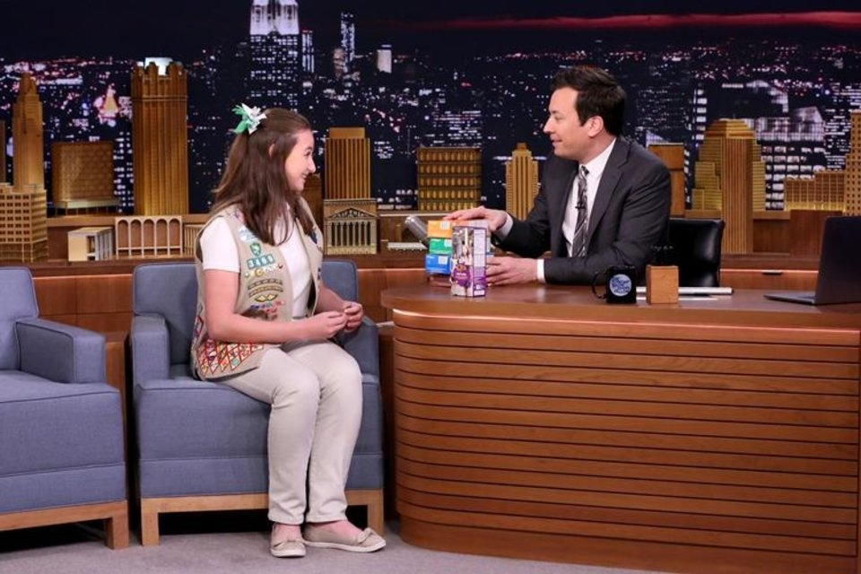 Photo - Oklahoma Girl Scout Katie Francis appears during a March 21 interview with host Jimmy Fallon on