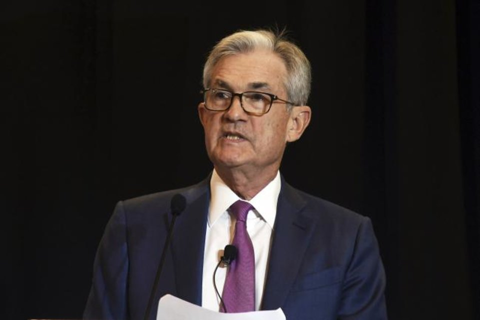 Photo -  Federal Reserve Chairman Jerome Powell speaks at the National Association for Business Economics conference in Denver on Tuesday. [AP PHOTO]