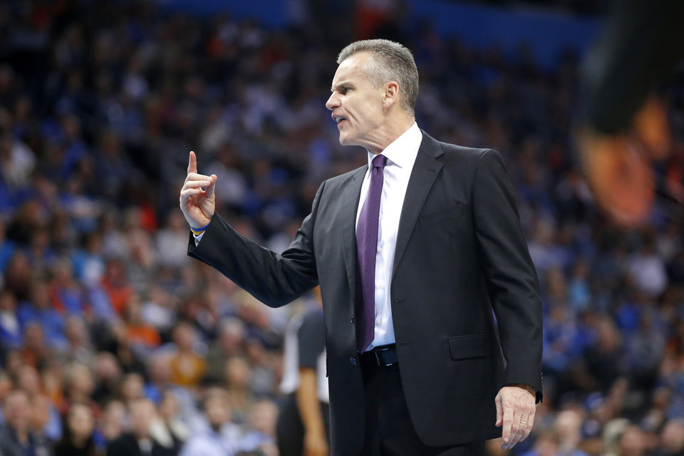 Photo - Oklahoma City coach Billy Donovan shouts towards an official during an NBA basketball game between the Oklahoma City Thunder and the Washington Wizards at Chesapeake Energy Arena in Oklahoma City, Sunday, Jan. 6, 2019. Photo by Bryan Terry, The Oklahoman
