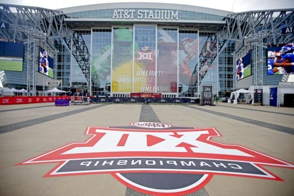 Photo -  AT&T Stadium in Arlington, Texas, awaits the 2019 Big 12 Championship Game last December. [Bryan Terry/The Oklahoman]