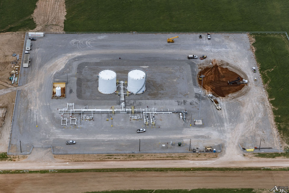 Photo -  A terminal is under construction at EnLink Midstream Partners LP's Black Coyote terminal, where the company's Black Coyote and Red Bud gathering systems meet. [Photos provided by EnLink]