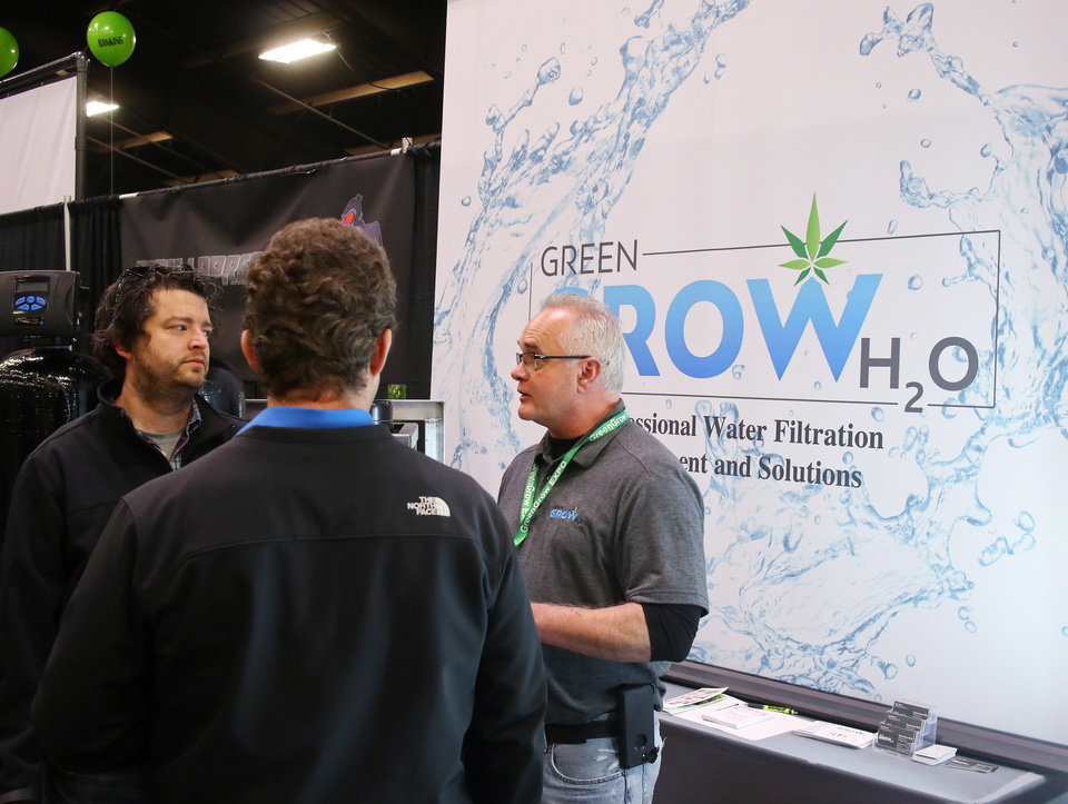 Photo - Green Grow H20 booth at Mr. Green Dispensary booth at the Green Grow Expo at State Fair Park, Saturday, March 2, 2019.  Photo by Doug Hoke, The Oklahoman