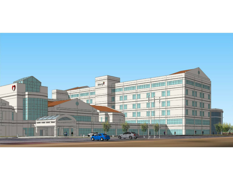 Photo -  Renderings of the new Mercy Hospital in south Oklahoma City next to the Oklahoma Heart Hospital South. [Photo provided]