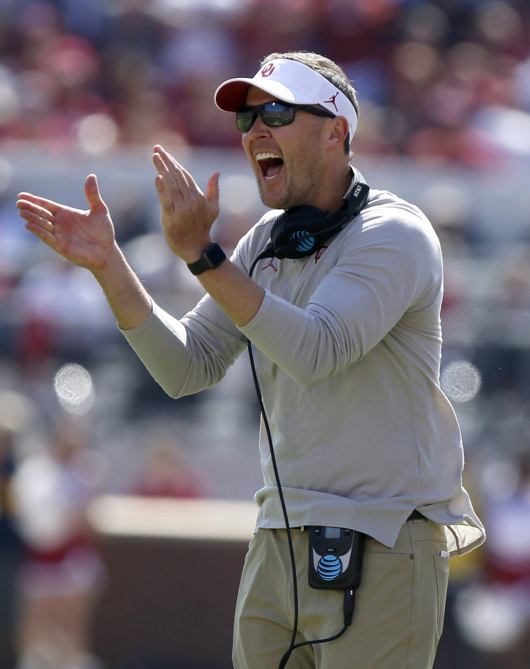Photo - Oklahoma coach Lincoln Riley celebrates after a blocked punt during a college football game between the University of Oklahoma Sooners (OU) and the West Virginia Mountaineers at Gaylord Family-Oklahoma Memorial Stadium in Norman, Okla, Saturday, Oct. 19, 2019. Oklahoma won 52-14. [Bryan Terry/The Oklahoman]