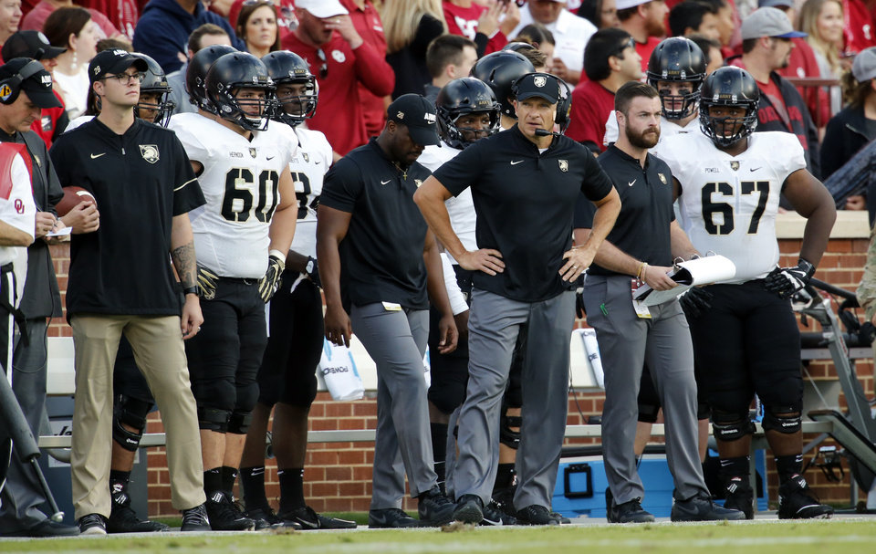 Photo - Army head coach Jeff Monken watches action during a college football game between the University of Oklahoma Sooners (OU) and the Army Black Knights at Gaylord Family-Oklahoma Memorial Stadium in Norman, Okla., on Saturday, Sept. 22, 2018. Photo by Steve Sisney, The Oklahoman