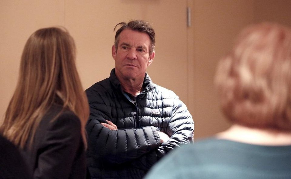 Photo - Dennis Quaid talks with reporters on the set of the film