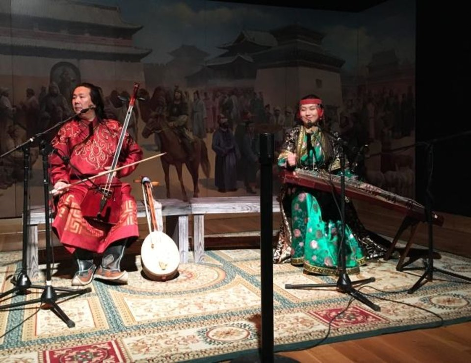 Photo -  Mongolian musicians present traditional music and song several times daily. [E. Warner]