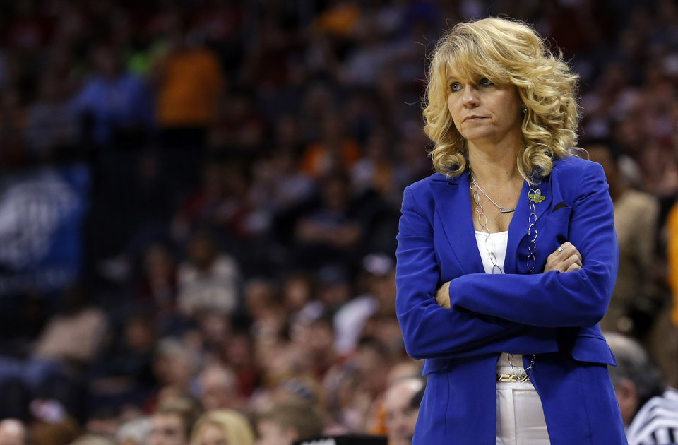 Photo - Oklahoma head coach Sherri Coale reacts during the college basketball game between the University of Oklahoma and the University of Tennessee at the  Oklahoma City Regional for the NCAA women's college basketball tournament at Chesapeake Energy Arena in Oklahoma City, Sunday, March 31, 2013. Photo by Sarah Phipps, The Oklahoman