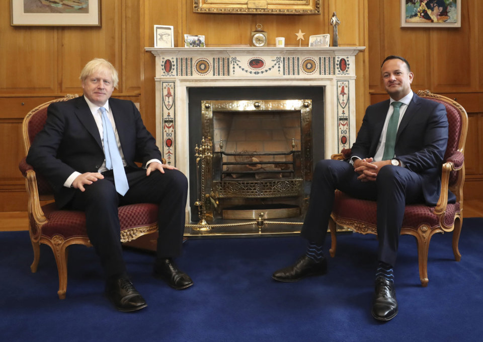 Photo -  Britain's Prime Minister Boris Johnson, left, meets with Ireland's Prime Minister Leo Varadkar at Government Buildings in Dublin, Monday Sept. 9, 2019. Boris Johnson is to meet with Leo Varadkar in search of a compromise on the simmering Brexit crisis. (Niall Carson/PA via AP)