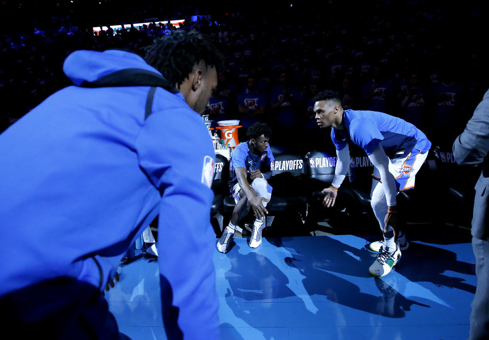 Photo - Oklahoma City's Russell Westbrook (0) is introduced before Game 4 in the first round of the NBA playoffs between the Portland Trail Blazers and the Oklahoma City Thunder at Chesapeake Energy Arena in Oklahoma City, Sunday, April 21, 2019.  Photo by Sarah Phipps, The Oklahoman